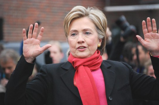 Editorial-Use-Hillary-Clinton-Hands-Up